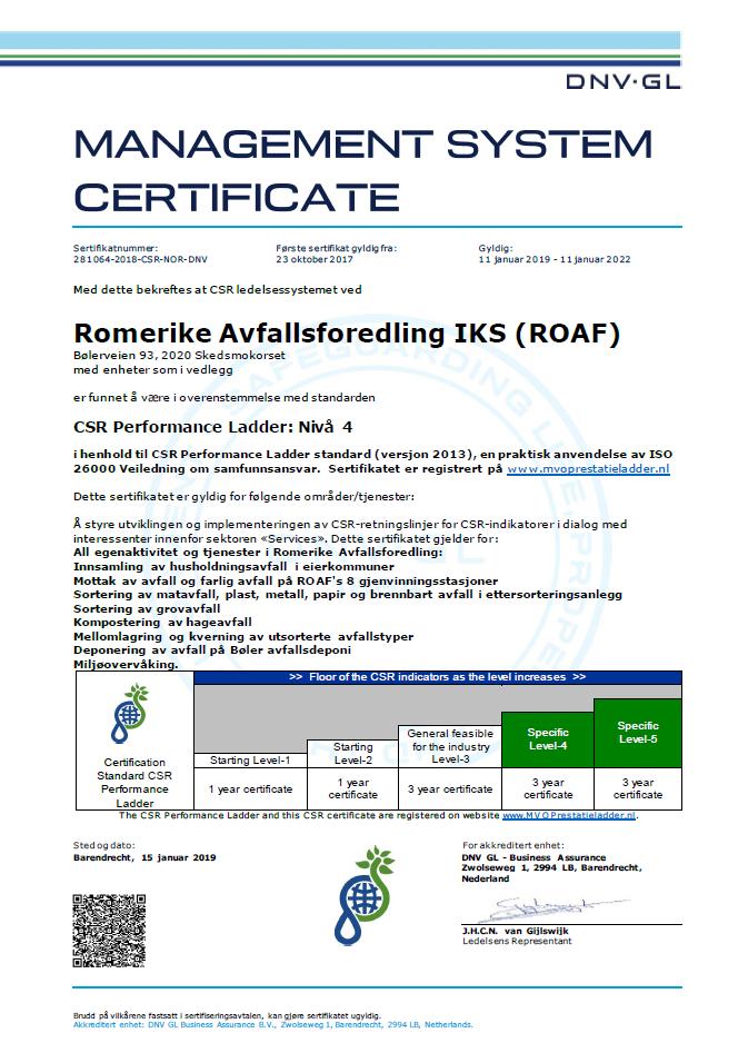 Samfunnsansvar sertifikat